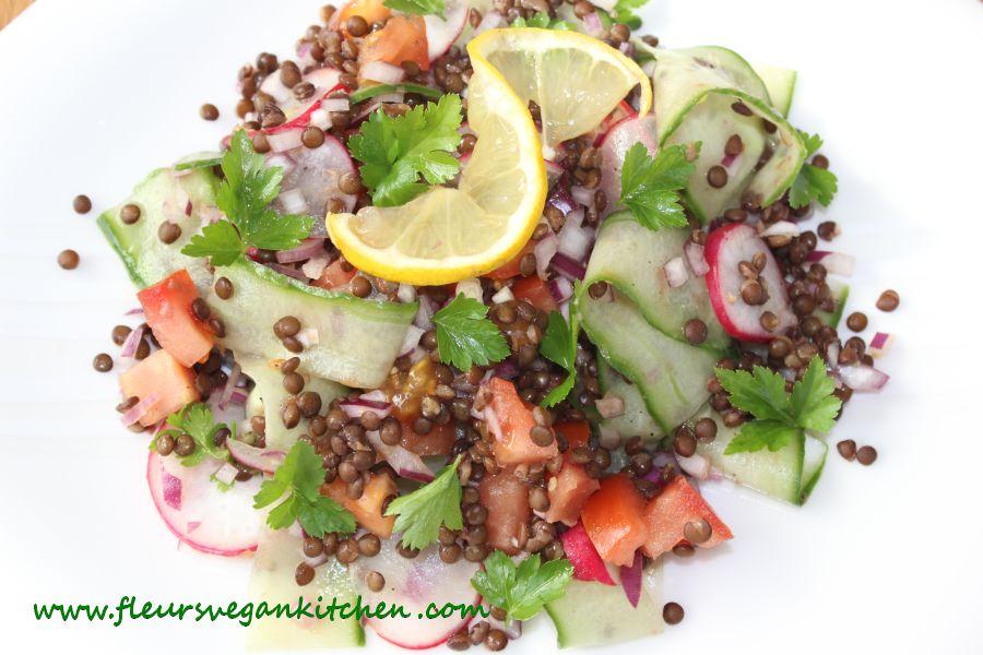 Beluga lentils salad