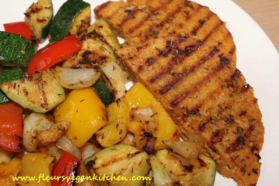Grilled seitan and vegetables