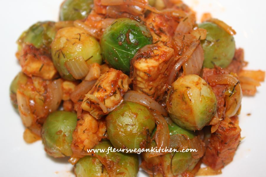 Brussels sprouts and tempeh in tomato sauce