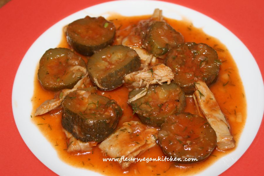 Brined cucumbers in tomato sauce